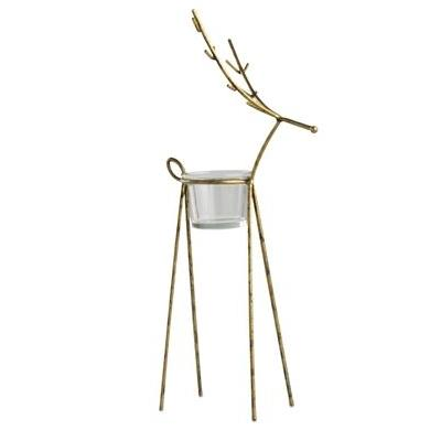 Seasonal Candle Holder Gold Reindeer Large