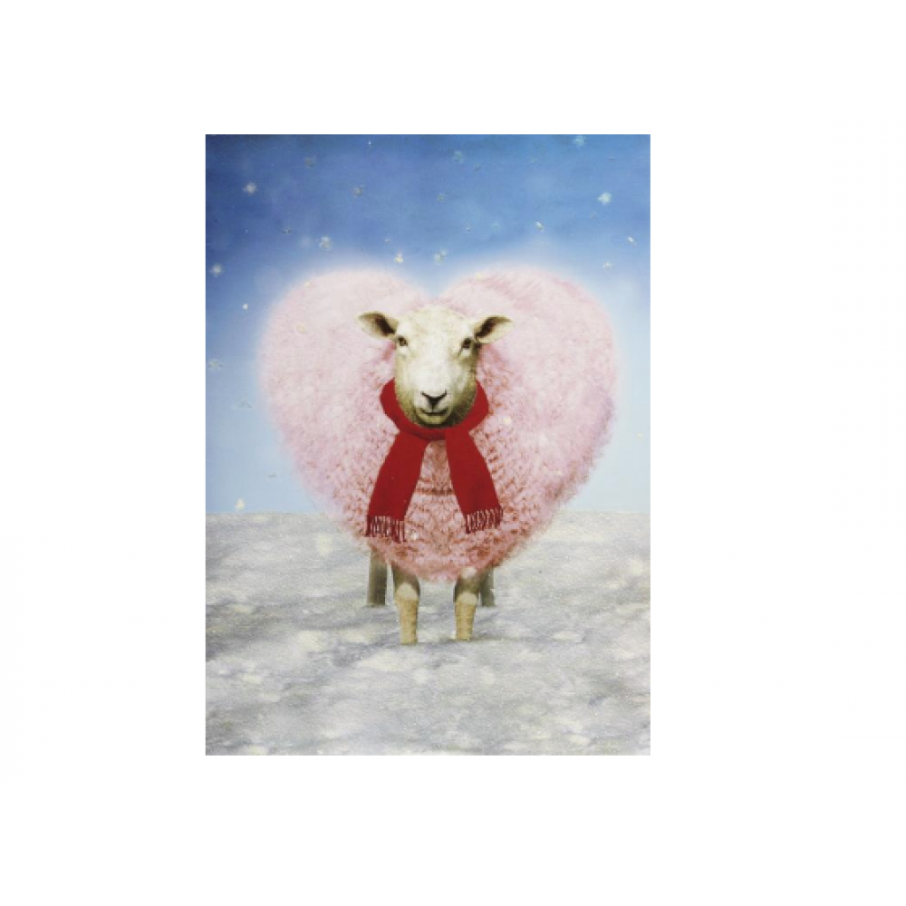 Christmas - Heart Sheep In Scarf Card