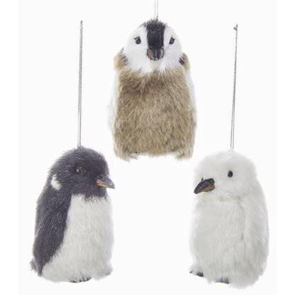 Ornament Furry Penguin 3.35inch
