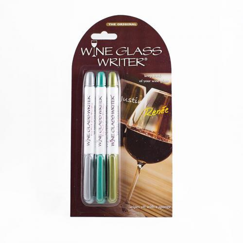 Wine Glass Writer Original Metallic 3 Pack (silver, Gold, Green)