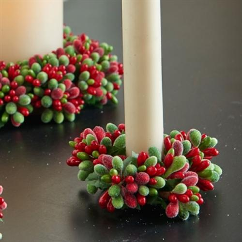"Candle Holder Beaded Berry Candy 3"" Green And Red ( Seasonal Item Call For Availability )"