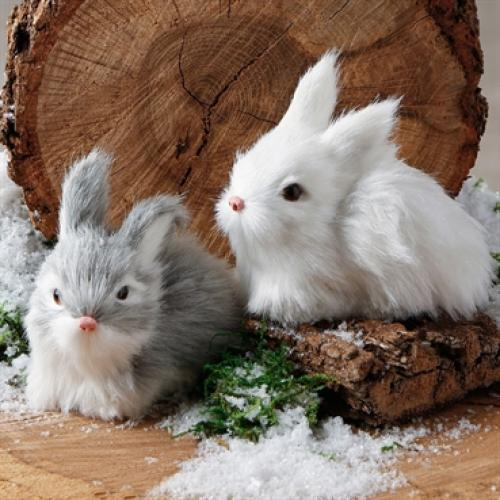 Ornament Glittered Rabbits 3 Inch