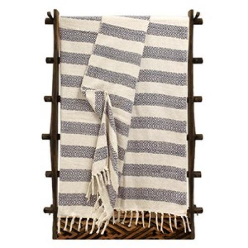Throw Blanket Cotton Diamond Stripes