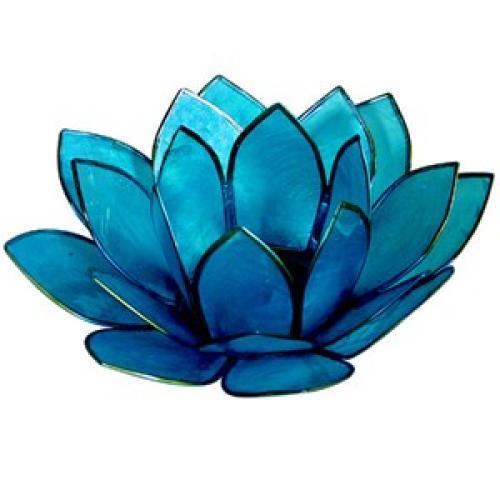 Tea Light Holder Capis Shell Lotus Blue