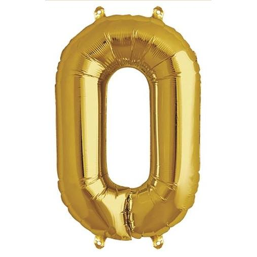 Party Decor - Mylar Balloon - 16in Gold Foil Zero