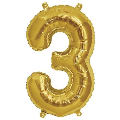 Party Decor - Mylar Balloon - 16in Gold Foil Three