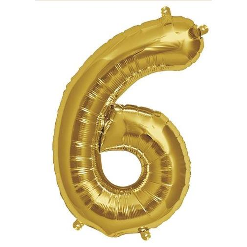 Party Decor - Mylar Balloon - 16in Gold Foil Six