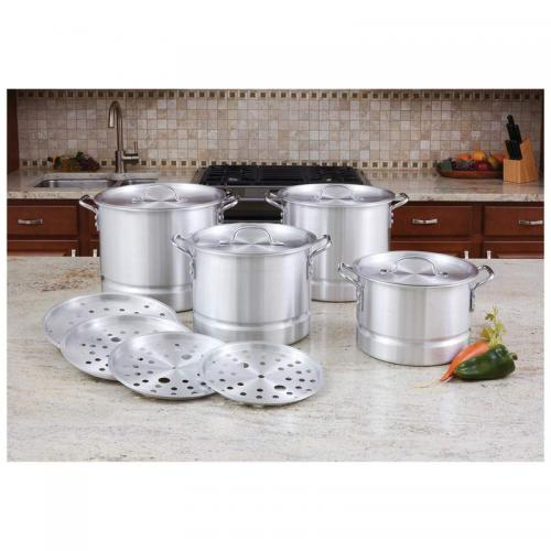 Cookware Stockpot With Steamer Inserts Aluminum 4 Size-12 Piece Set (lacuisine) (24.99, 19.99, 14.99, 9.99)