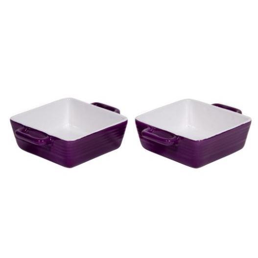 Bakeware Dish Stoneware 12oz Handles Purple 2 Piece Set