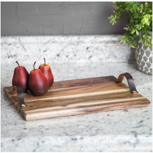 Serving Tray Rectangular Wood Acacia Leather Handles 12in Small