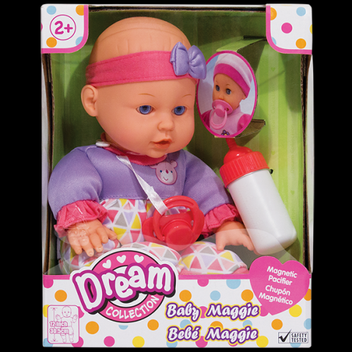 Dolls Baby Maggie 12� 3 Asst Styles Includes Magnetic Pacifier And Bottle