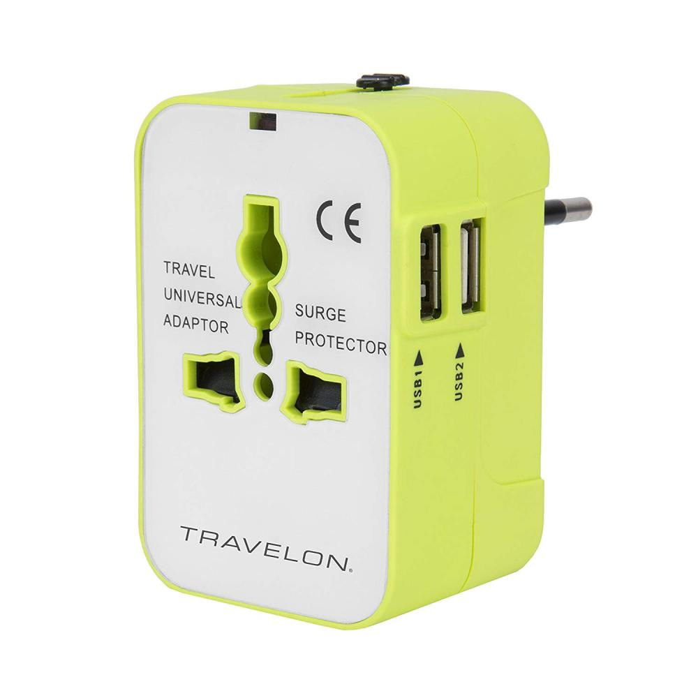 Worlwide Travel Adapter W/ Dual Usb Chargers Surge Protection Universal Recepticle