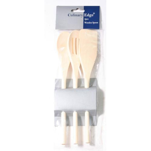 Kitchen Utensil Wood 3 Piece Set (turner, Spoon, Slotted Spoon)