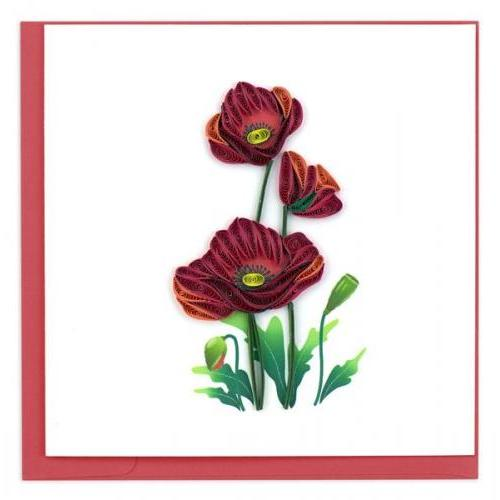 Any Occasion - Quilling Card - Red Poppies