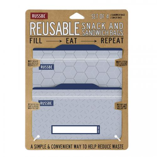 Reusable Snack Sandwich Bags, Metallic Hexagrid
