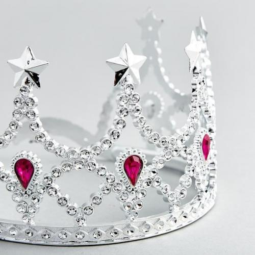 Crown Silver With Pink Jewels