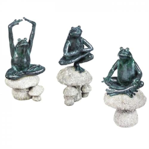 Outdoor Decorative Garden Statue Animal Frog Yoga 3 Assorted Styles