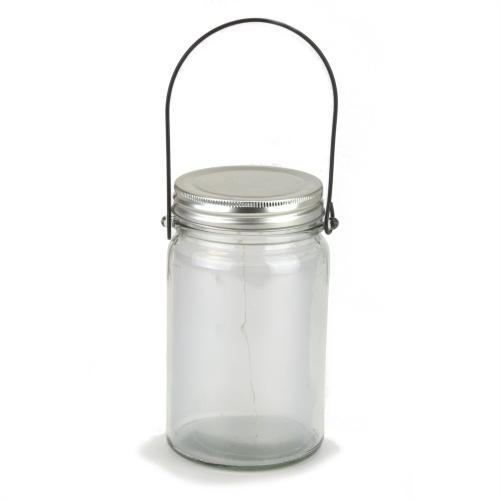 Clear Glass Bottle Wire Handle With Lighting