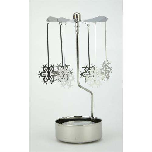 Silver Spinning Tealight Holder With Large Snowflake