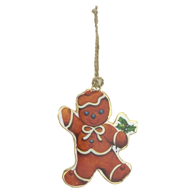 Ornament Tin Gingerbread Bear With Bow