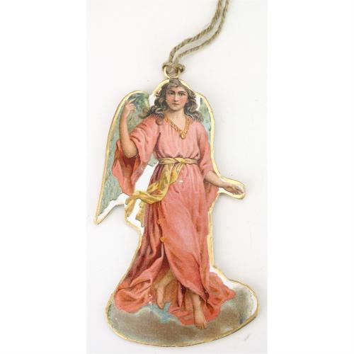 Ornament Tin Angel In Pink Dress
