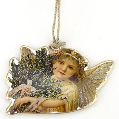 Ornament Tin Angel With Bouquet