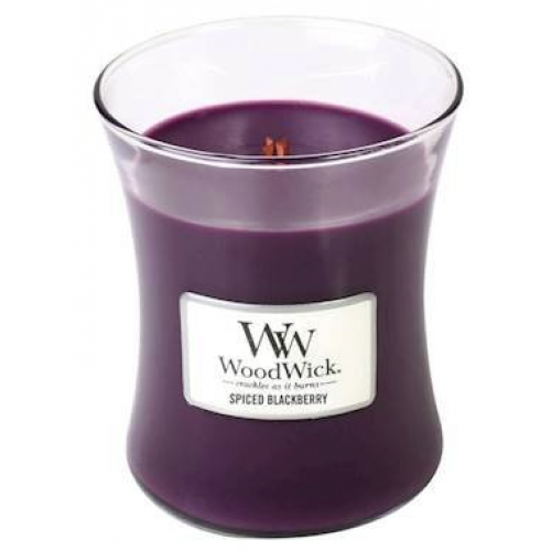 Woodwick Medium Candle Jar Spiced Blackberry 10oz 60 Hour Burn Time
