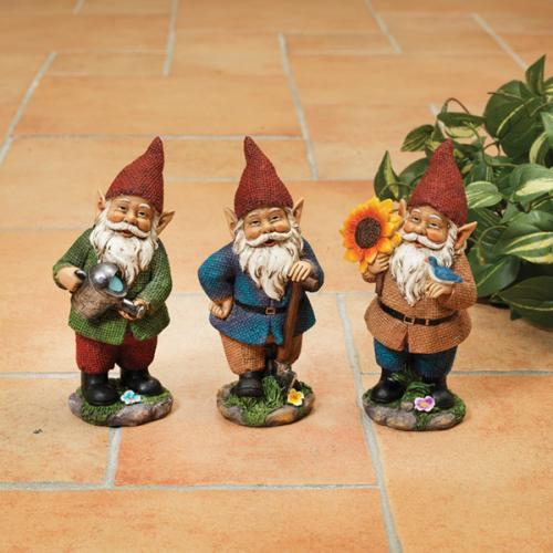 Outdoor Decorative Garden Statue Gnome Resin 6.3in High 3 Assorted Sunflower/watering Can/shovel