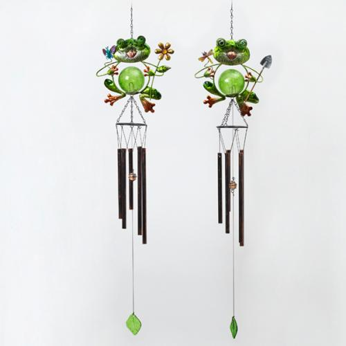 Outdoor Windchime Metal & Glass Frog 2 Assorted 34in
