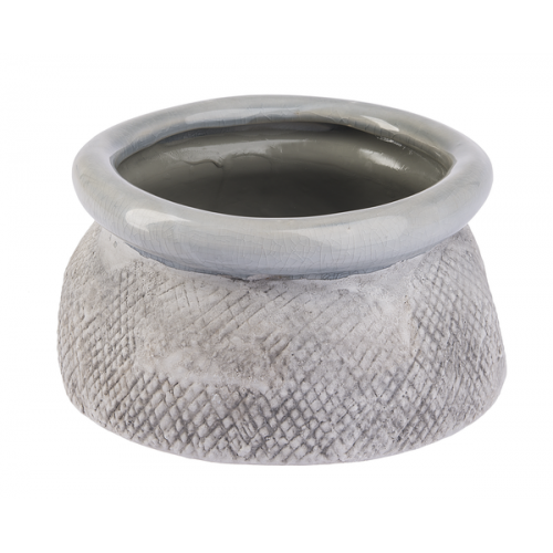 Flower Planter Pot Shallow Greystone -med