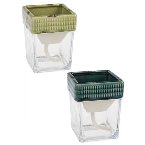 Flower Planter Pot Glass and Ceramic Self Watering Square
