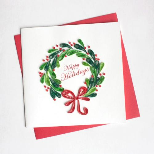 Christmas - Quiling Card - Holiday Wreath