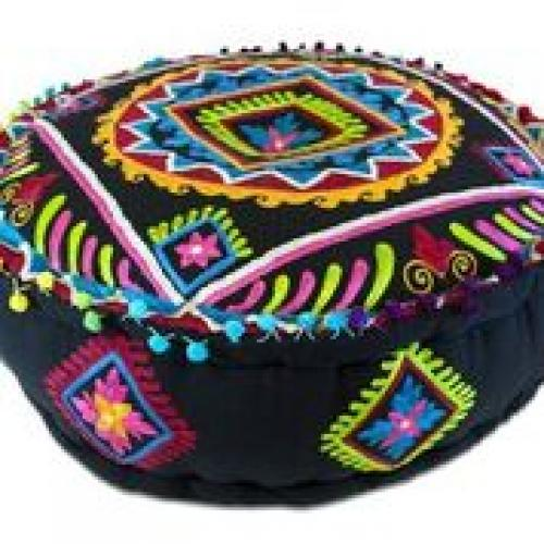 Pouf 24in Diameter 8in High Black With Bright Embroidery Side Design Diamonds and Flowers