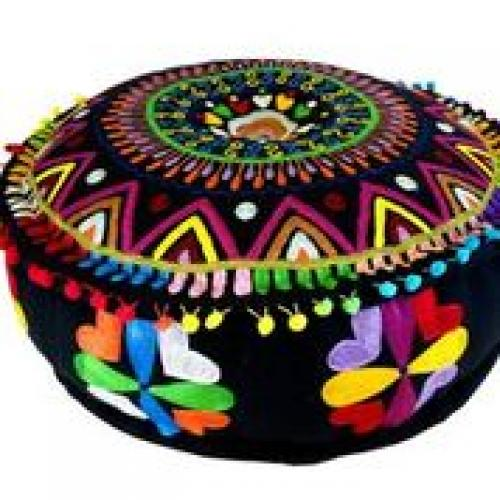 Pouf 24in Diameter 8in High Black With Bright Embroidery Side Design Hearts and Flowers