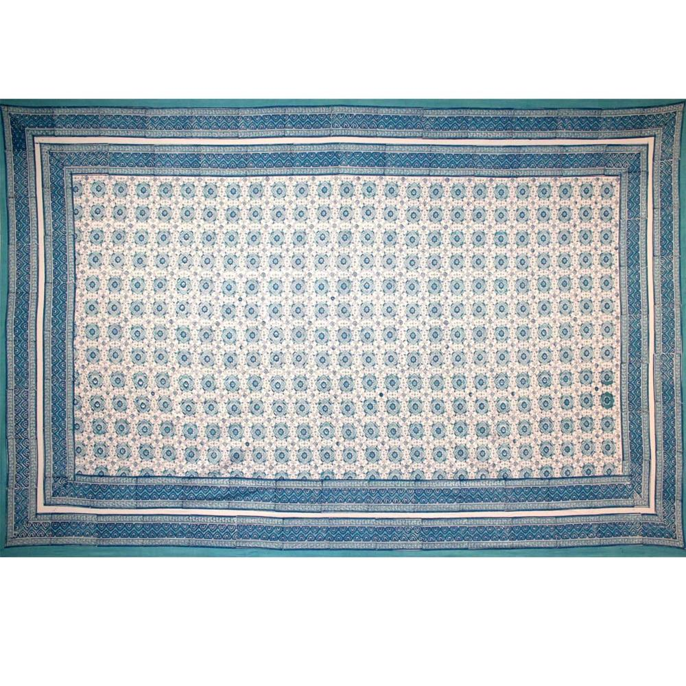 Tapestry Twin Size Tile Print White Background Blue
