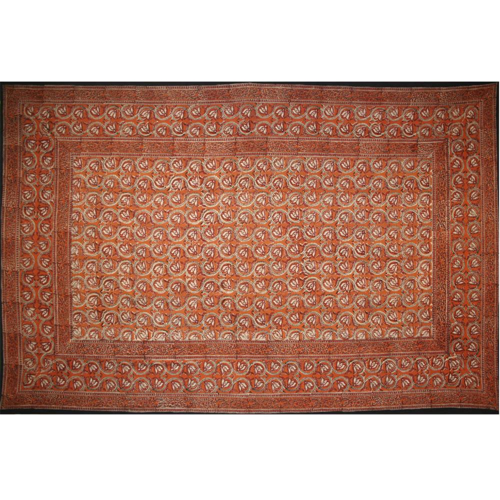Tapestry Single Size Dabu Vine Rust  Red