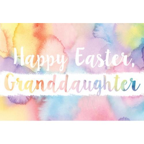 Easter - Granddaughter - Watercolored Abstract Background