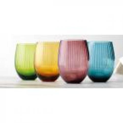 Drinkware Glass Jewel Wine Stemless 14oz Assorted Colors Box Of 4 (4.99ea)