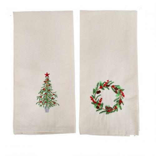 Seasonal Christmas - Dish Towel Set Of 2 - Embroidered Tree And Wreath