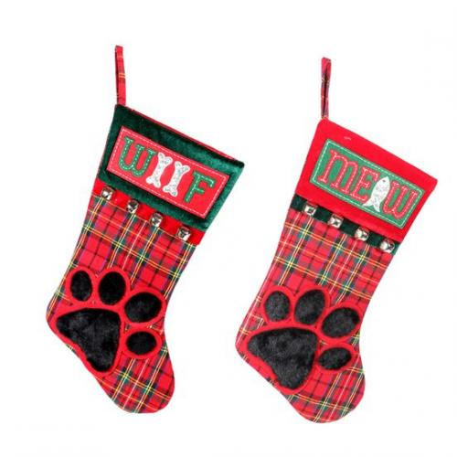 Christmas - Stocking - Paw Print Woof And Meow