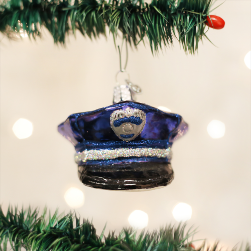 Christmas Ornament Police Officers Cap
