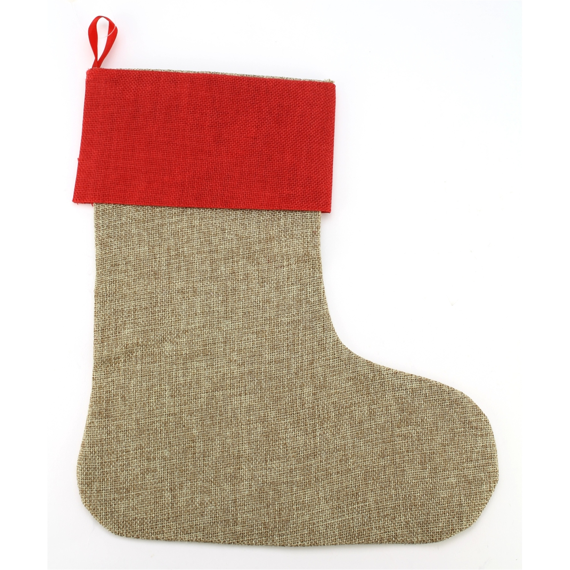 Stocking Faux Jute Natural W/red Md