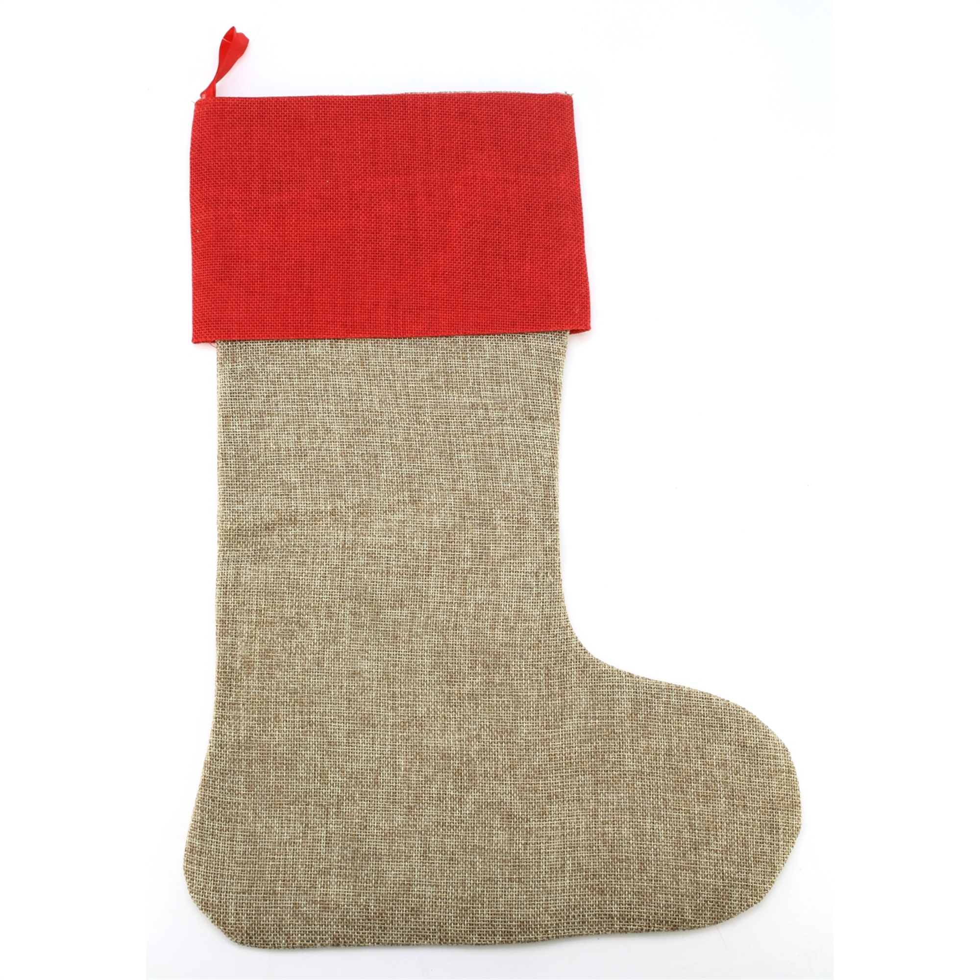 Stocking Faux Jute Natural W/red Lg