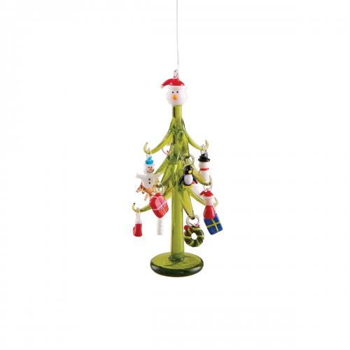 Christmas - Decor - Mini Glass Tree With Ornaments