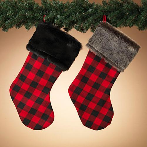 Christmas - Stocking - Fabric Plaid