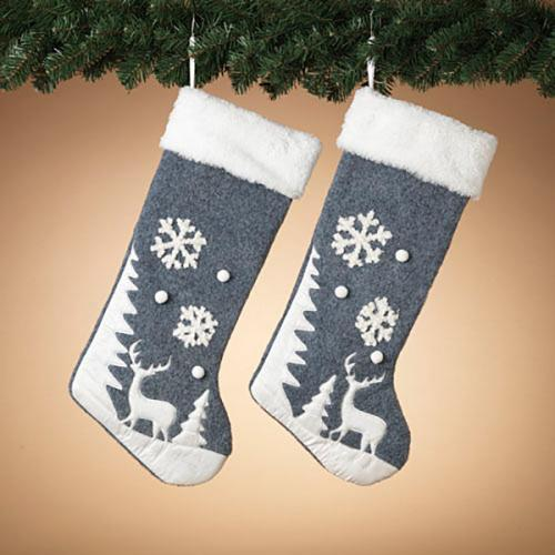 Christmas - Stocking - Fabric Winter Scene