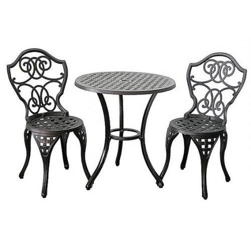 "Garden Bistro Table Set Scroll Cast Iron 26"" Dia X 28"" H"