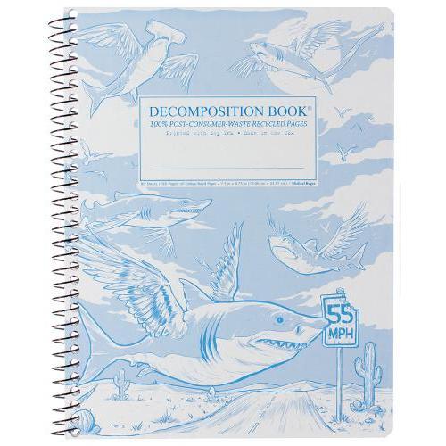 Decomposition Notebook - Pocket - Spiral - Flying Sharks