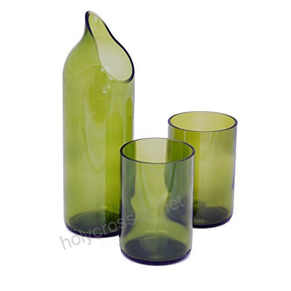 Wine Glass Decanter - Green - 2 Glasses / 1 Bottle