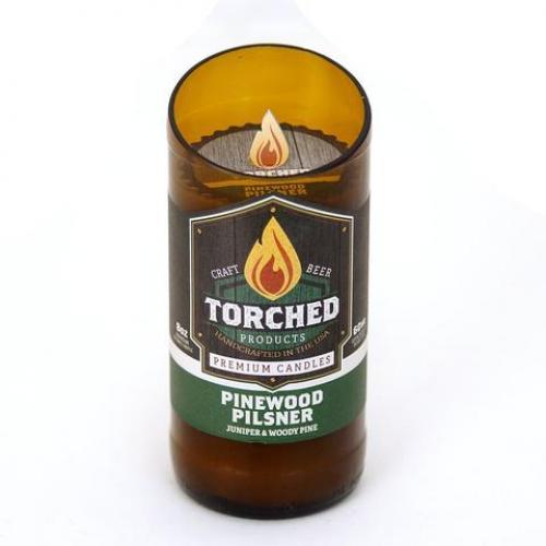 Torched Beer Bottle Candle - Pinewood Pilsner 8oz